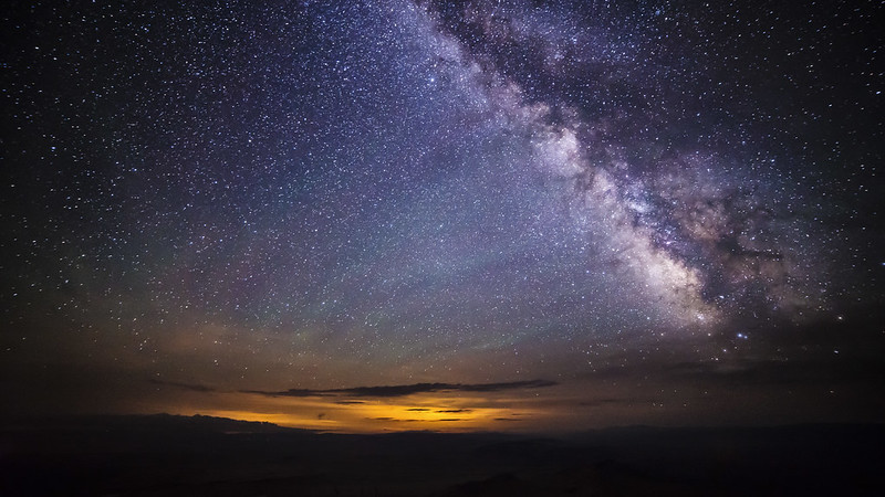 Milky Way, airglow, and storm over Fort Collins, CO