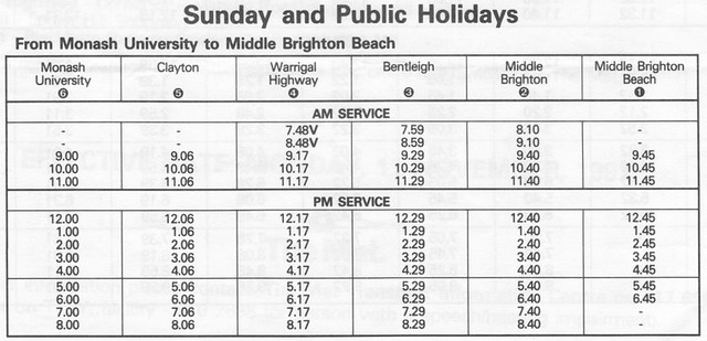Bus route 703 - Sunday timetable towards Brighton, dated 11/11/1991