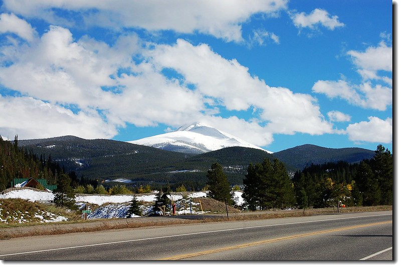 A snow covered Bald Mountain from  CO-9 near Lake Dillon