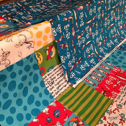 218:365 Quilt pieced & backing made... ready to load onto the longarm tomorrow. #robertkaufman #drseuss #handiquilter