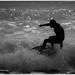 Foam rider on the silver sea