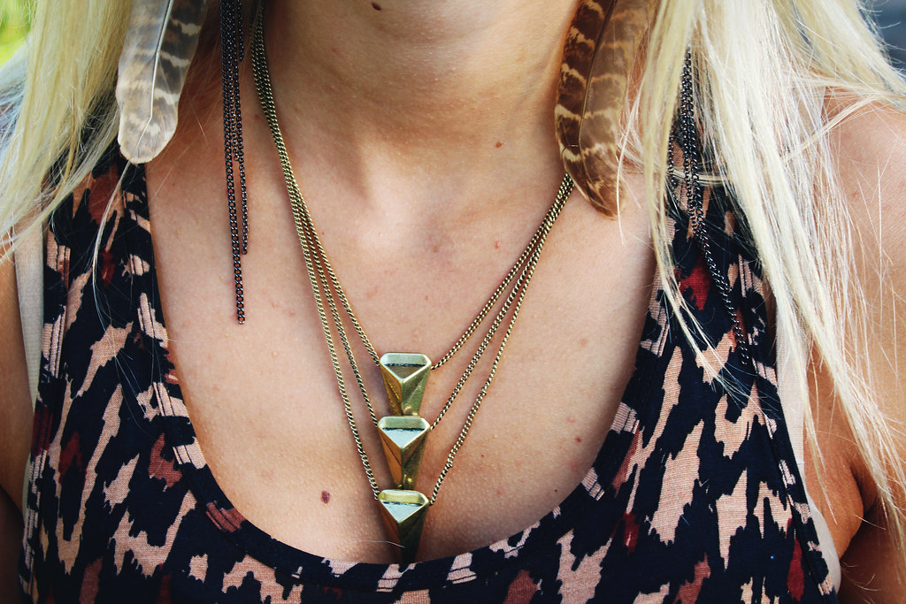 triangle-shape-necklace-feather-earrings