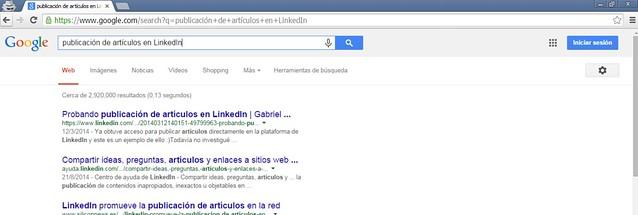 artículo LinkedIn indexado en buscadores