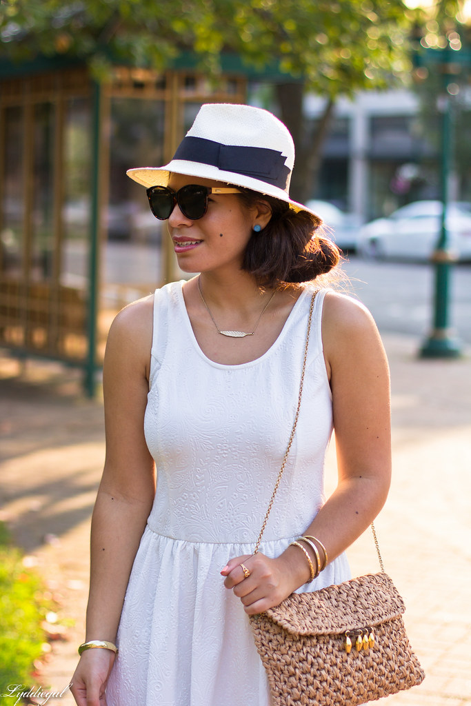 Little white dress, panama hat, straw clutch-3.jpg