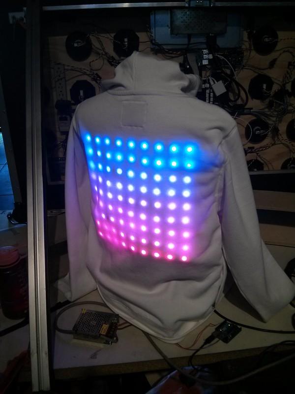 LED hoodie on