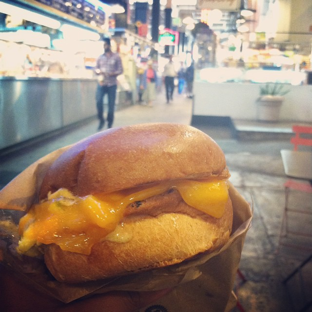 #kvpinmybelly: @EggSlutLA Fairfax sandwich. Loved combo of soft-scrambled eggs w/ sriracha mayo & cheddar cheese. NOM #brunch #egglove #lafood