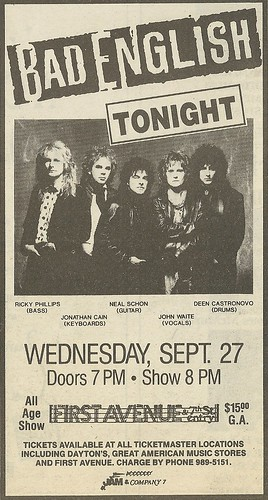 09/27/89 Bad English @ First Avenue, Minneapolis, MN