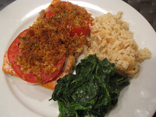 Poached Salmon with Scalloped Tomatoes