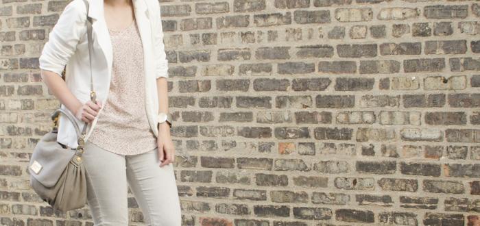 grayscale august, sheinside white ponte blazer, gap suede loafers, old navy gray jeans, club monaco silk print top