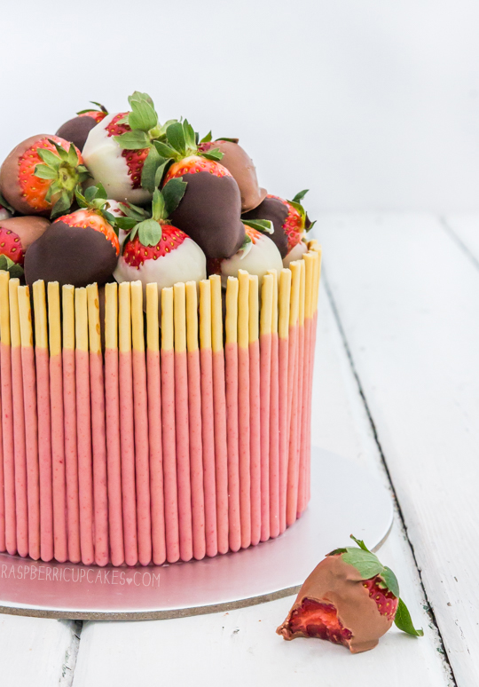 Strawberry Pocky Cake with Chocolate-Dipped Strawberries