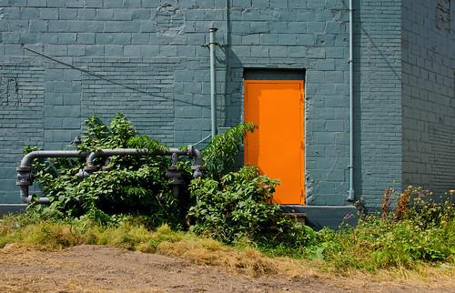 door orange usa newyork buffalo industrial bluewall orangedoor firstward old1ward buffalony20140824