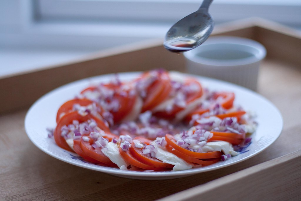Homemade Tomato Salad with Mozzarella and Red Onions