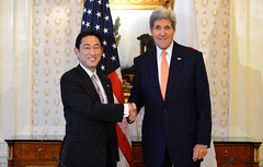 U.S. Secretary of State John Kerry and Japanese Foreign Minister Fumio Kishida pose for a photo before their bilateral meeting in New York City on September 23, 2014. The Secretary is holding meetings in events in conjunction with the 69th Session of the United Nations General Assembly. [State Department photo/ Public Domain]