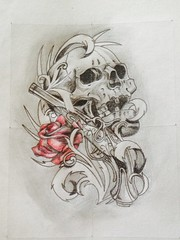 Tattoo Design Art Skull Rose Blackandwhite Drawing T Flickr