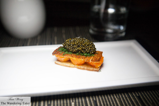 Amuse bouche of Egg on Egg - duck egg yolks between broiche toasts topped with sturgeon caviar