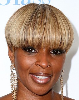 Mary J. Blige bowl haircut sizzling-bowl-cut-hairstyle-for-black-women-with-blonde-hair