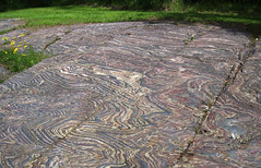 Glacially eroded jaspilite banded iron formation outcrop (Soudan Iron-Formation, Neoarchean, ~2.722 Ga; Stuntz Bay Road outcrop, Soudan Underground State Park, Soudan, Minnesota, USA) 1