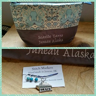 In love with my new #knittingbag from @seasideyarns and the awesome #alaskancruise theme #stitchmarkers #juneau #madeinalaska #handmade #knittersofinstagram #getyourkniton  Thank you @atreehuggerswife 💜
