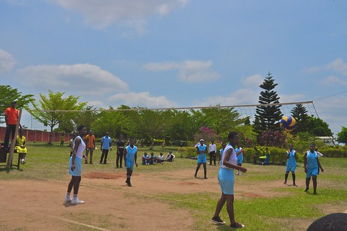 Volleyball players in action at 2-day sports festival at the St Louis Jubilee School