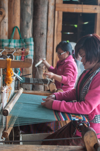 Weavers in Chumey village