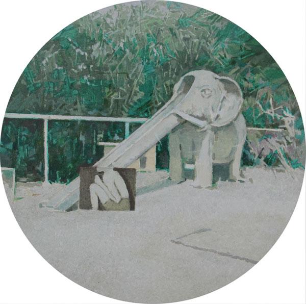 Liu-Kai-刘凯-理想乐园-布面油画-直径40cm-2014