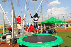 jumping, trampolining--equipment and supplies, trampoline,