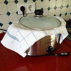 Bretonische Milchkonfitüre: Geänderter Versuchsaufbau, aber es wird #Dulcedeleche #homemade #crockpot oder mühsam ernährt sich das Eichörnchen