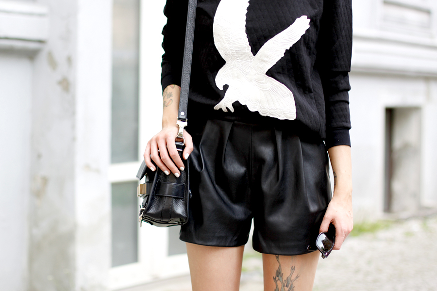 black and white summer eagle sweatshirt sojeans leather shorts velvet slippers asos zara proenza schouler ps11 fashionblogger outfit ootd rayban CATTS & DOGS berlin Ricarda Schernus 4