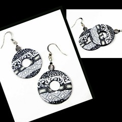 polymer clay Black & White Mosaic Earrings