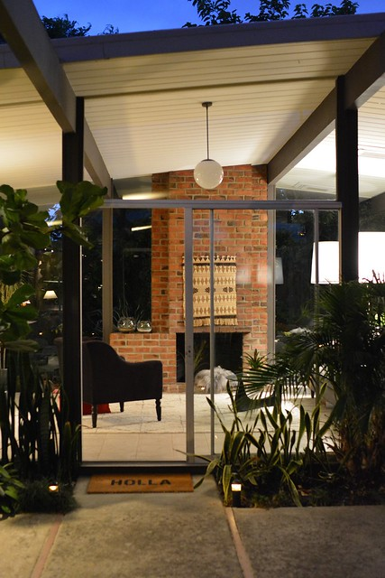 eichler living room at night