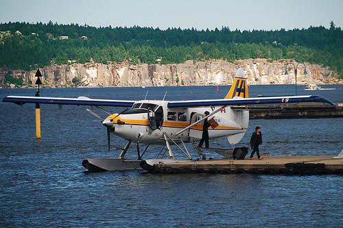 Passengers disembark a Floatplane in Nanaimo Harbour, Nanaimo, Vancouver Island, British Columbia, Canada