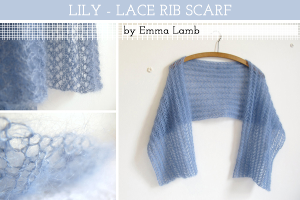 Lily - Lace Rib Scarf, knitting pattern by Emma Lamb / © emma lamb 2009
