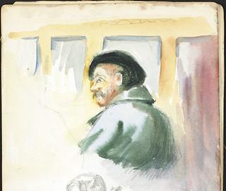 A man wearing a black beret and a grey-green coat [Sketchbook 4, folio 32:a] / Homme en béret noir et manteau gris-vert [Carnet de croquis 4, folio 32:a]