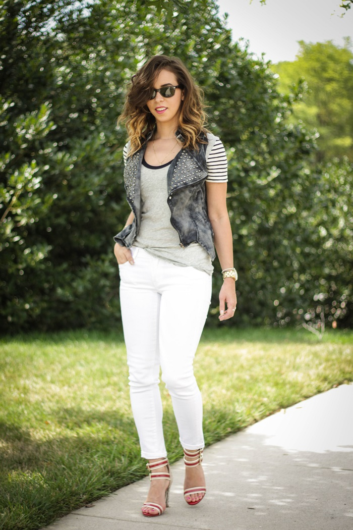 va darling. dc blogger. virginia personal style blogger. dc style. grey. stripe tee. moto vest. white jeans. red strappy heels. 9