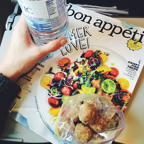 New country, new flight. This round with water, @bonappetitmag and oatmeal cookie bites.   #travel #vscocam #vsco #eatingtheprops #jjupandaway #whatdayisit?