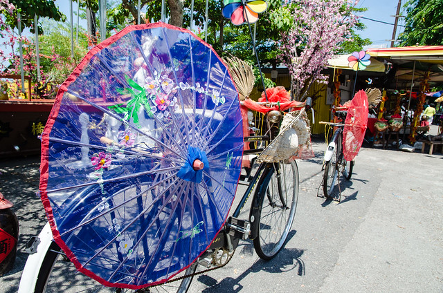 Decorated colorful bicycles