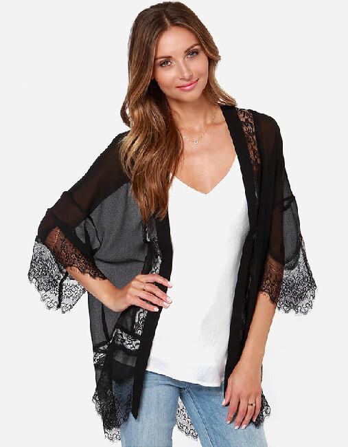 O5 3 quarter Sleeved Black Sheer Kimono
