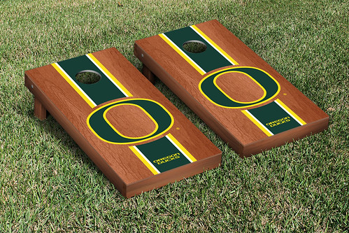 Oregon Ducks Cornhole Game Set Rosewood Stained Stripe Version