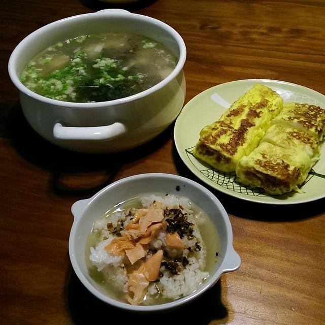 20140817 愛米家的日式早餐 鮭魚茶泡飯+玉子燒+味噌湯 嗝!