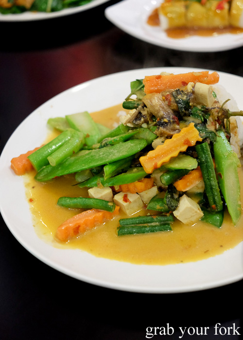 Vegetarian red curry with rice at Do Dee Paidang, Haymarket Chinatown Sydney