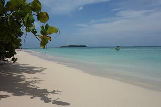 Areia branca e água cristalina na Ilha Zapatilla no Panamá