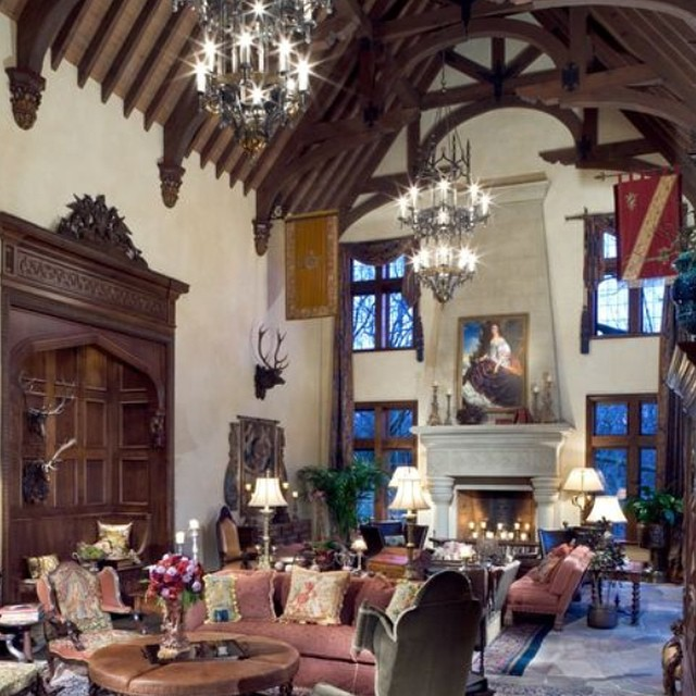 Tradition English manor in Dallas cathedral ceiling antique fireplace dream home architecture interior design