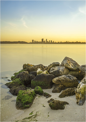 city longexposure light water skyline sunrise river landscape dawn scenery rocks cityscape sony scenic australia wideangle perth alpha westernaustralia swanriver daybreak carlzeiss applecross nd400 neutraldensity a99 sal1635z variosonnar163528za slta99 stevekphotography