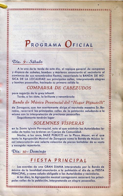 Programa Fiestas de San Lorenzo año 1947