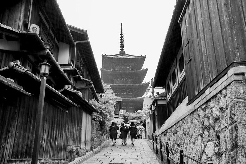 Shrine and school girls in Japan