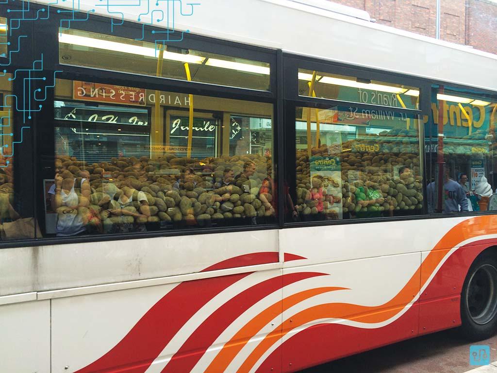 Ônibus lotado de batatas, parado no ponto.
