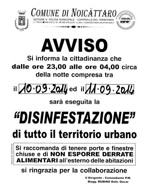 Noicattaro. Disinfestazione 10-11 Settembre intero