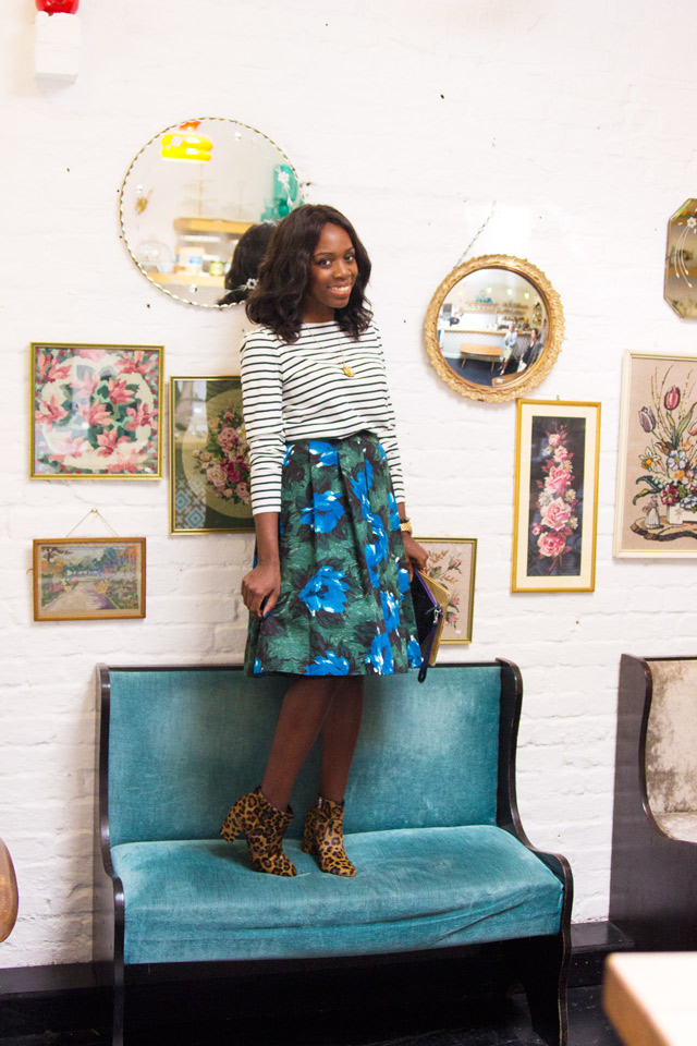 how to wear a Boden Winter floral skirt
