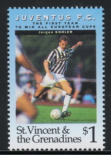 juventus the first team to win all europe cups stamp 4 - st. vincent & the grenadines