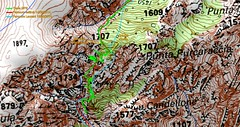 Carte IGN des couloirs de Bocca Purcaraccia dans le Giru di Vangoni avec les différentes traces relevées ou estimées